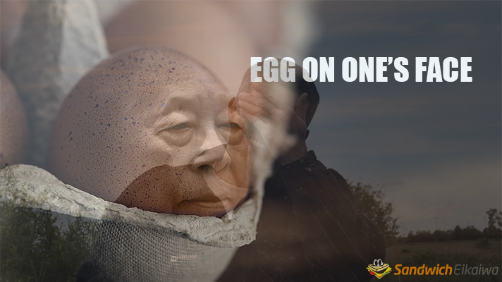 egg on one's face 意味